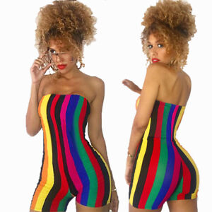 5ce51dc29c4 Details about Sexy Women Off Shoulder Colorful Stripes Bodycon Clubwear  Party Jumpsuit Rompers