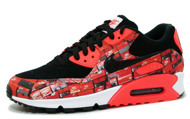 Nike AIR MAX 90 PRINT AQ0926-001 'WE LOVE NIKE' BLACK/BRIGHT CRIMSON sz 4-12