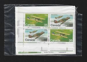 Canada — Set of 4 Corner Blocks — 1980, Military Aircraft #875-876 (876a) — MNH