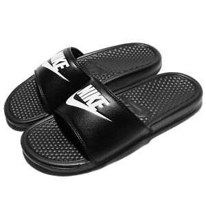 Nike Benassi JDI Black White Men Sports Sandals Slippers Slides ... 7db89ee19
