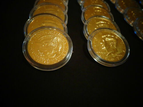 LOT OF 5* 24 K  GOLD PLATED JFK KENNEDY HALF DOLLAR COIN SET AIR TIGHT  CAPSULE