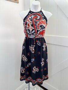 Ann Taylor Loft Navy Blue Paisley Print High Neck Midi Dress Women's Size XS