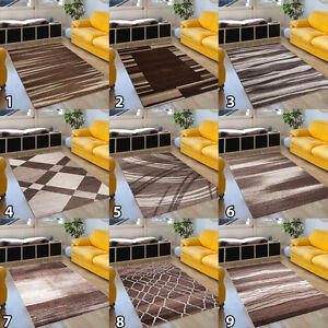 Tapis-marron-salon-design-motif-RAYURES-CARREAUX-bordure-GRAND-CHOIX-NEUF