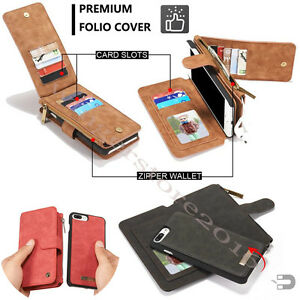 on sale a93f7 54b43 Details about Removable Zipper Wallet Leather Purse Case Magnetic Cover For  iPhone X XS Max XR