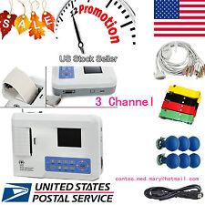 ECG Digital 3 Channel 12 lead ECG/EKG machine+software Electrocardiograph US