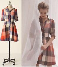Anthropologie Moulinette Soeurs Reed Red Blue Plaid Dress 3/4 Sleeve Size 4