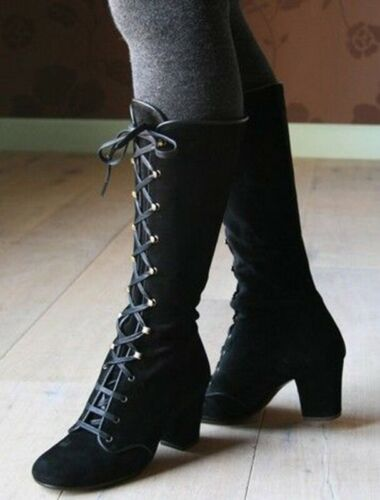 Womens Steampunk Gothic Vintage Style Ladies Retro Punk Boots Cozy Lace Up Boots
