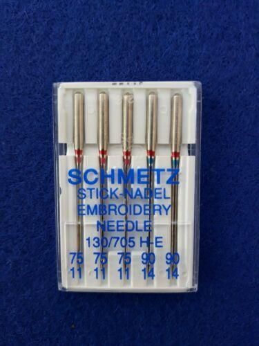 705 H-E Nickel 75//11 5 Sticknadel Embroidery SCHMETZ Maschinen 130 90//14