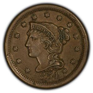 1854 1c Braided Hair Large Cent - AU Coin