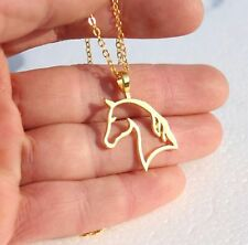 Yellow Gold Tone Horse Outline Pendant with Necklace Chain UK SELLER gld P08