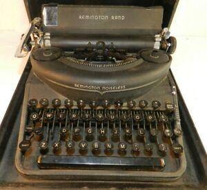 Vtg Remington Rand Noiseless Portable Manual Typewriter w/Case