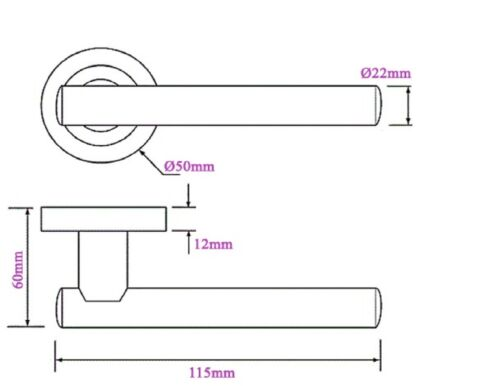 Lever  ROSE handle chrome PACK stylish T Bar ROUND ROSE MODERN Door Handles