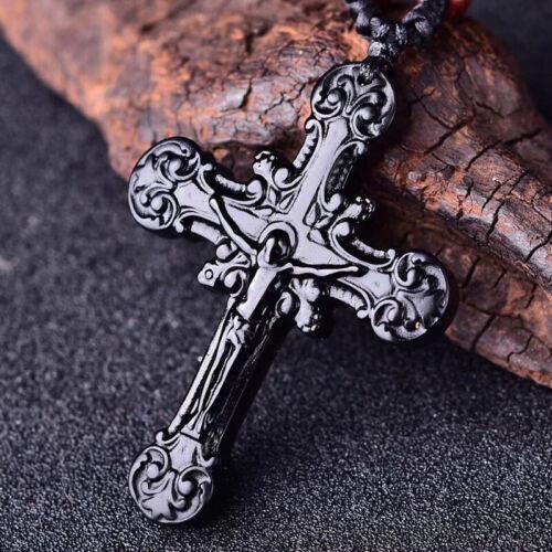 Naturel Noir Obsidienne Pendentif Croix Jésus Collier charme bijoux perles amulette
