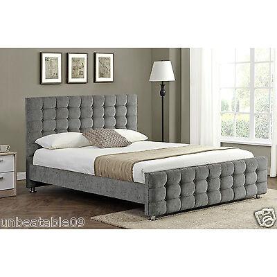 Diamante Upholstered Fabric Bed Frame Velvet Chenille Double King Size Mattress