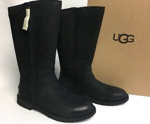 4eaa4042e8e Details about Ugg Australia Elly Black Tall Nubuck Boots 1017505 Wool Lined  sizes women's