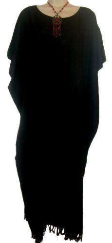 Sensible Uni Caftan Robe Femmes Xxl Gratuit Taille Grande Luxuriant Noir Beige Violet Et Aide à La Digestion