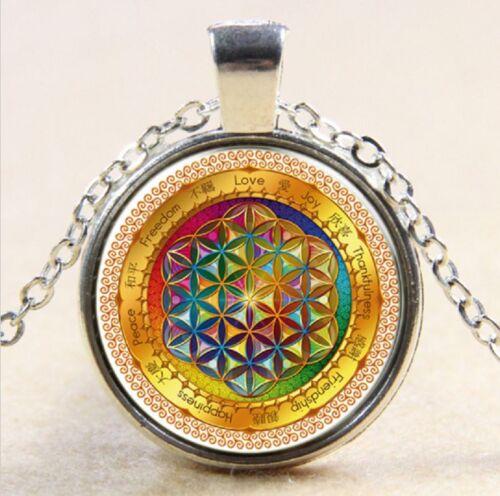 Geometry Art Flower of Life Pendant Necklace Indian Boho Mandala Hippy Buddhist