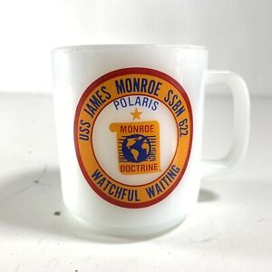 Vintage-Glasbake-USS-James-Monroe-SSBN-622-White-Mug-Polaris-Watchful-Waiting