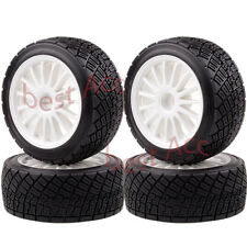 """4× 2.2"""" Wheel Rims & Tires White 1/8 RC HPI RTR WR8 3.0 Ford Fiesta Flux Rally"""