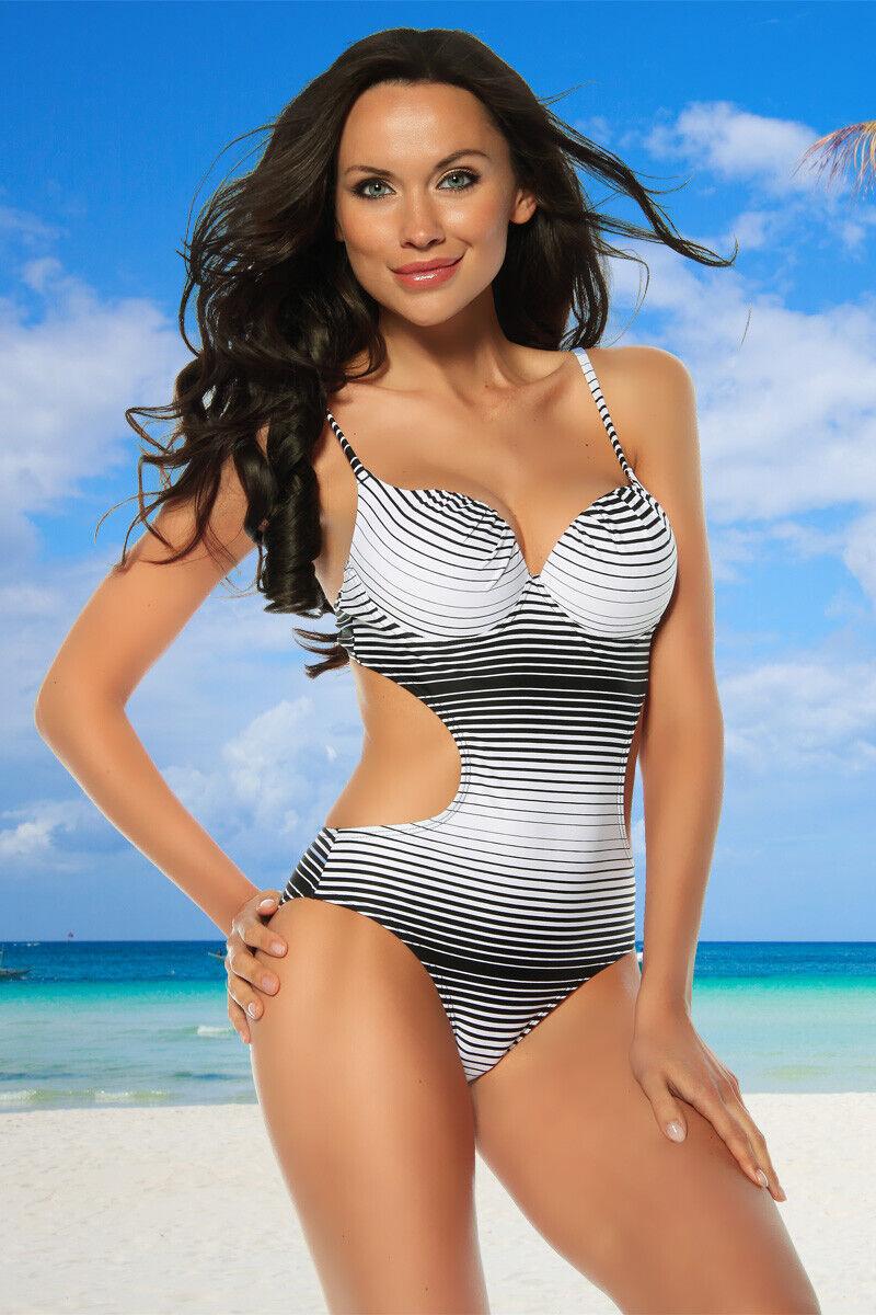 Monokini schwarz/weiß Badeanzug Beachwear Stretch Bademode gemustert S M L XL