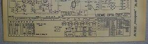 LOEWE OPTA Typ 3736 Moderna 3737 Magnet W  Schaltplan Ausgabe 1, Stand 06/58