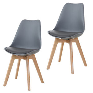Details zu Stuhl Esszimmerstühle 2er Set Stühle für Wartezimmer Büro Grau Holz Wohnzimmer