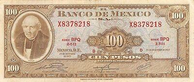 Paper Money: World Responsible México 100 Pesos 29.12.1972 Series Bpq Prefix X Circulated Banknote North & Central America