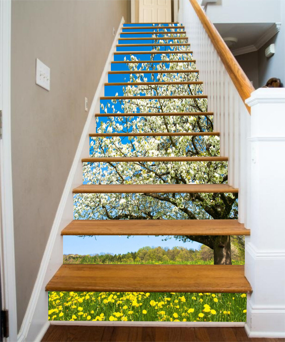 3D Tree Flowers 27 Stair Risers Decoration Photo Mural Vinyl Decal Wallpaper UK