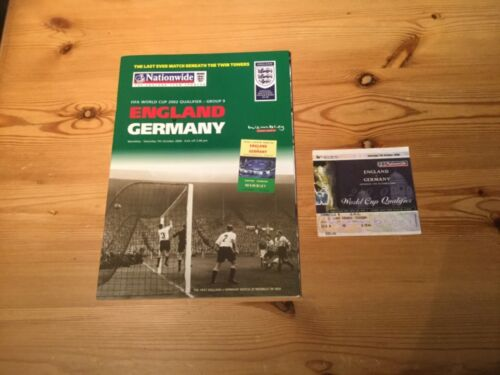 England v Germany FIFA World Cup 2002 07.10.00 programme