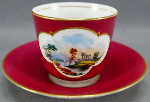 Brown-Westhead-Moore-Hand-Painted-Ruins-Maroon-Gold-Bone-China-Tea-Cup-1860-70s
