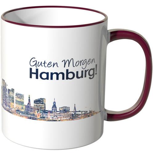"Wandkings Tasse Inscription /""Bonjour Hambourg!/"" avec skyline dans la nuit"