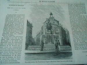 100% De Qualité Nouvelle Fontaine Des Trois Grâces érigée à Bordeaux Gravure Old Print 1869