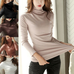 Women-Long-Sleeve-T-Shirt-Turtle-Neck-Pullover-Tops-Sweater-Slim-Solid-Casual