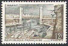 FRANCIA 1957 Brest/Porto/BRIDGE/NAVI/Barche/Trasporto/ARCHITETTURA 1v (n41894)
