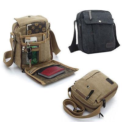 Men Small Vintage Canvas Leather Satchel School Military Shoulder Bag Messenger