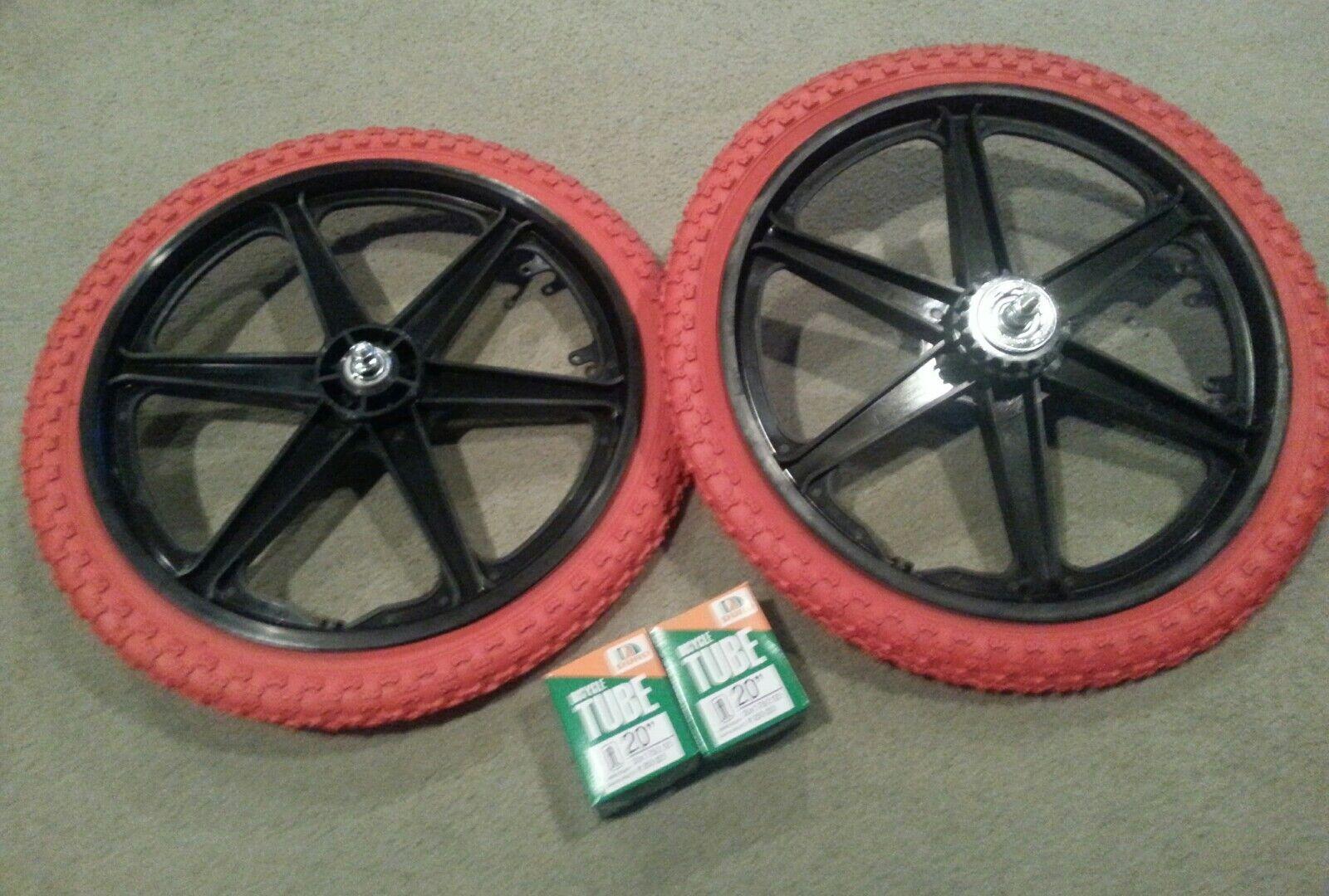 Nuevo 20  MAG Ruedas de 6 radios Rojo Neumáticos Tubos Para Gt Dyno Haro Bmx Bicicletas