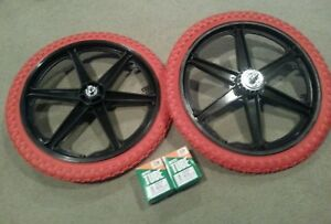 """NEW 20/"""" MAG WHEELS 6 SPOKE RED TIRES TUBES FOR GT DYNO HARO OR BMX BICYCLES"""