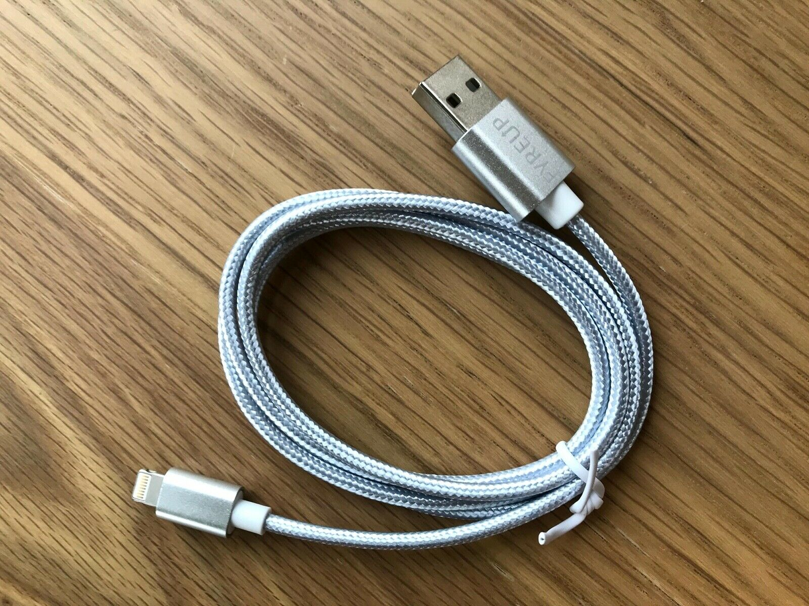 UNBREAKcable UBBT021 1m iPhone Double Nylon Braided Charger Cable Silver Grey