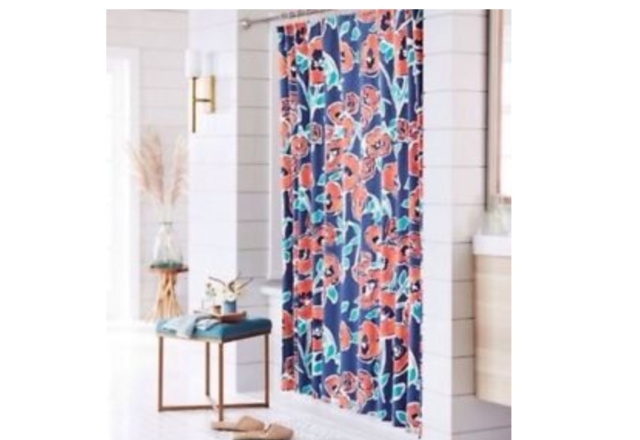New Threshold Windblown Floral Blue Orange Shower Curtain 72
