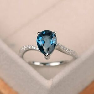 1-70-Ct-Pear-Cut-Natural-Blue-Topaz-Gemstone-Diamond-Ring-14K-White-Gold-Size-7
