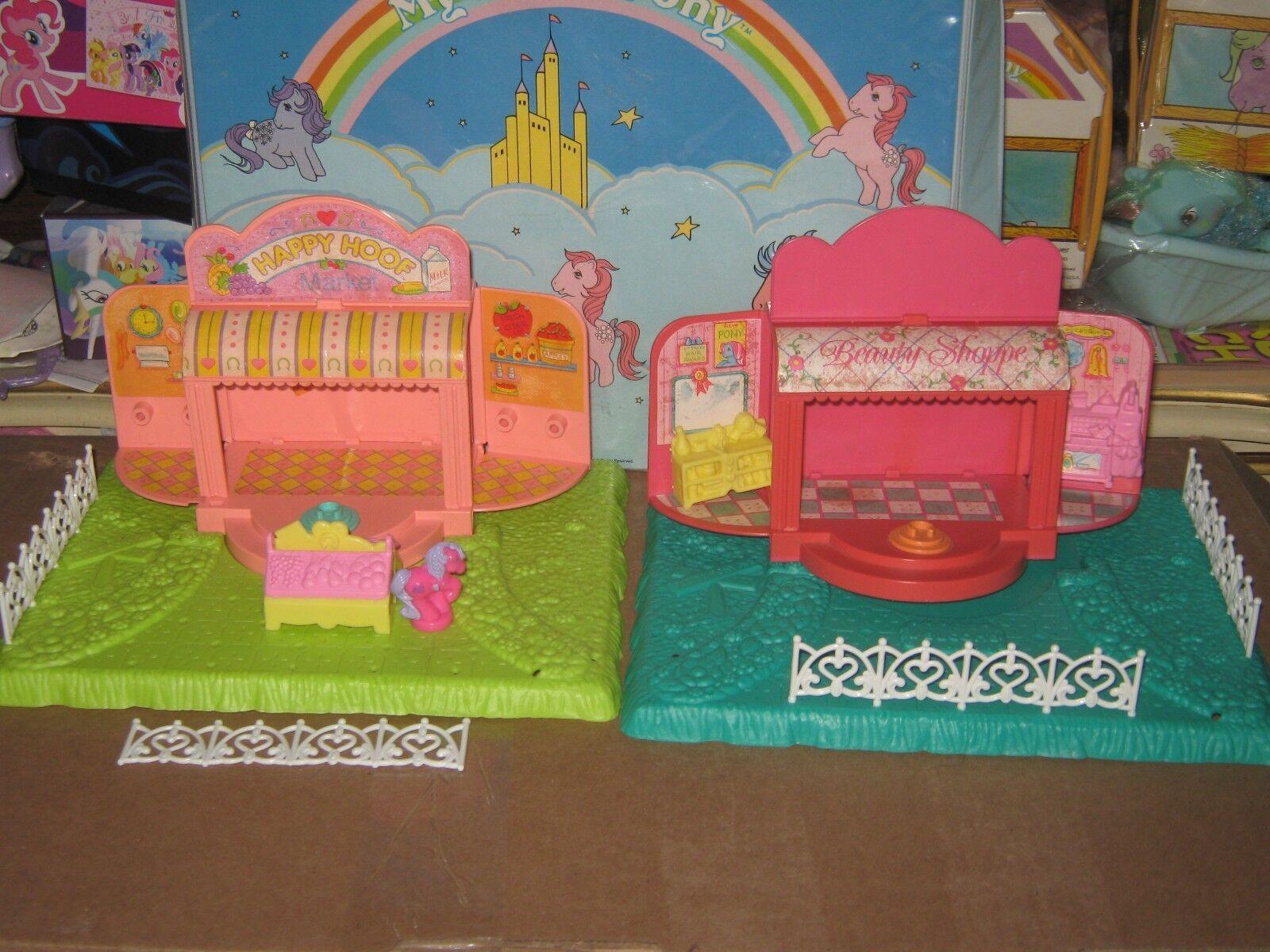 Vintage G1 My Little Little Little Pony MLP Petite Lot of 2 Stores HAPPY HOOF MART & MANE 7eb7f8