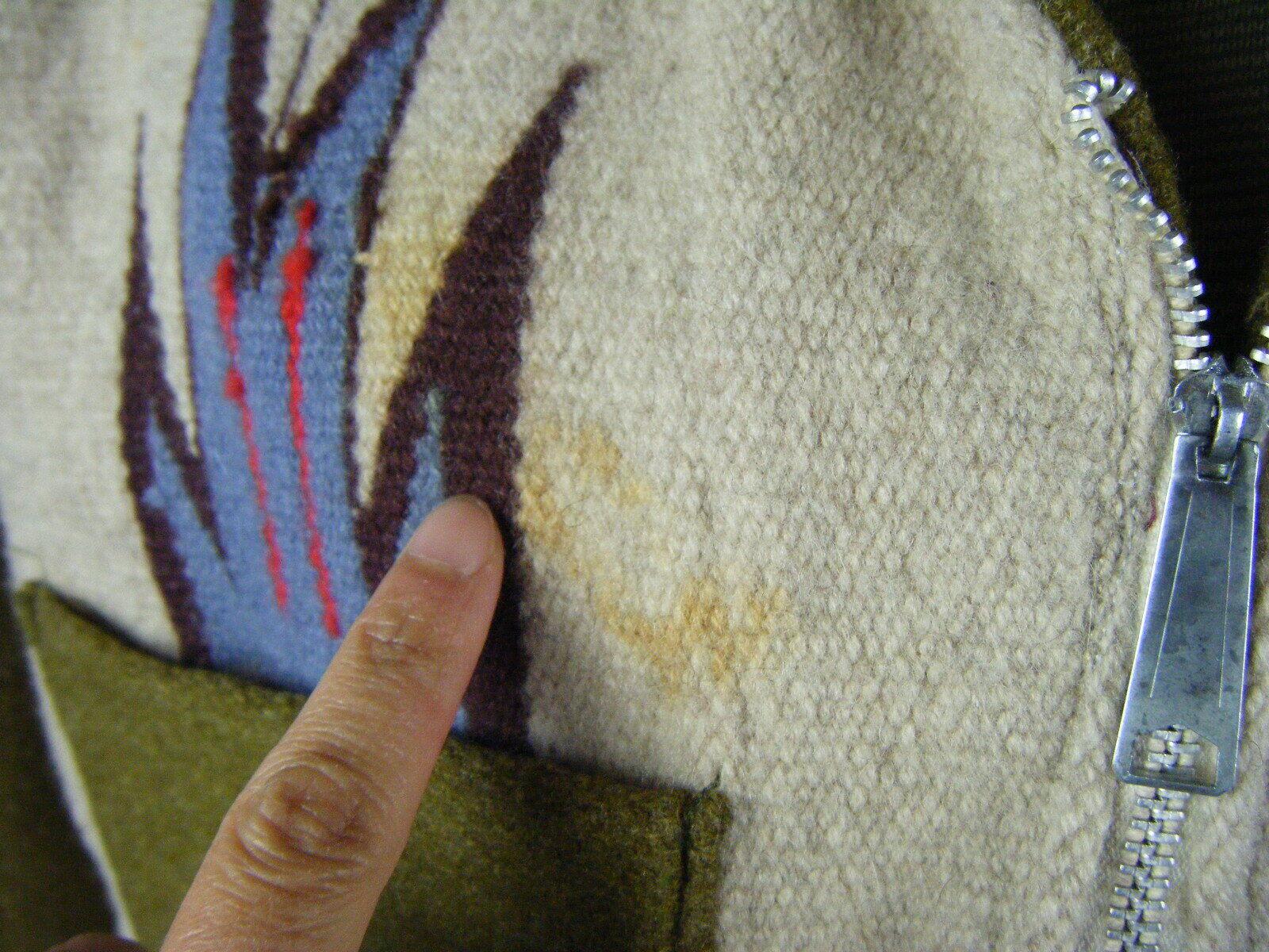 Vintage Chimayo Blanket Men Olive Green/Taupe Jac… - image 8