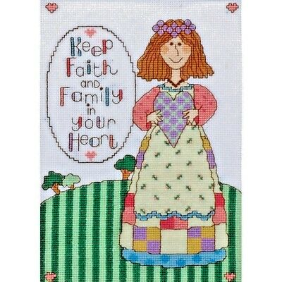 KEEP FAITH /& FAMILY IN YOUR HEART COLORFUL CROSS STITCH KIT by  DESIGN WORKS