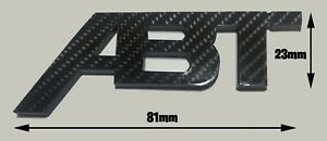 CARBON EFFECT ABT SPORTSLINE REAR BADGE LOGO (81mm) AUDI SEAT VW SKODA 3M BACK