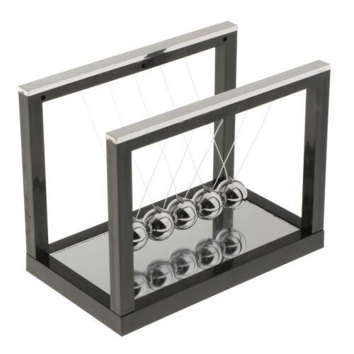 Pendulum Balance Ball Newton Cradle with Mirror Desktop Toy Game Black S