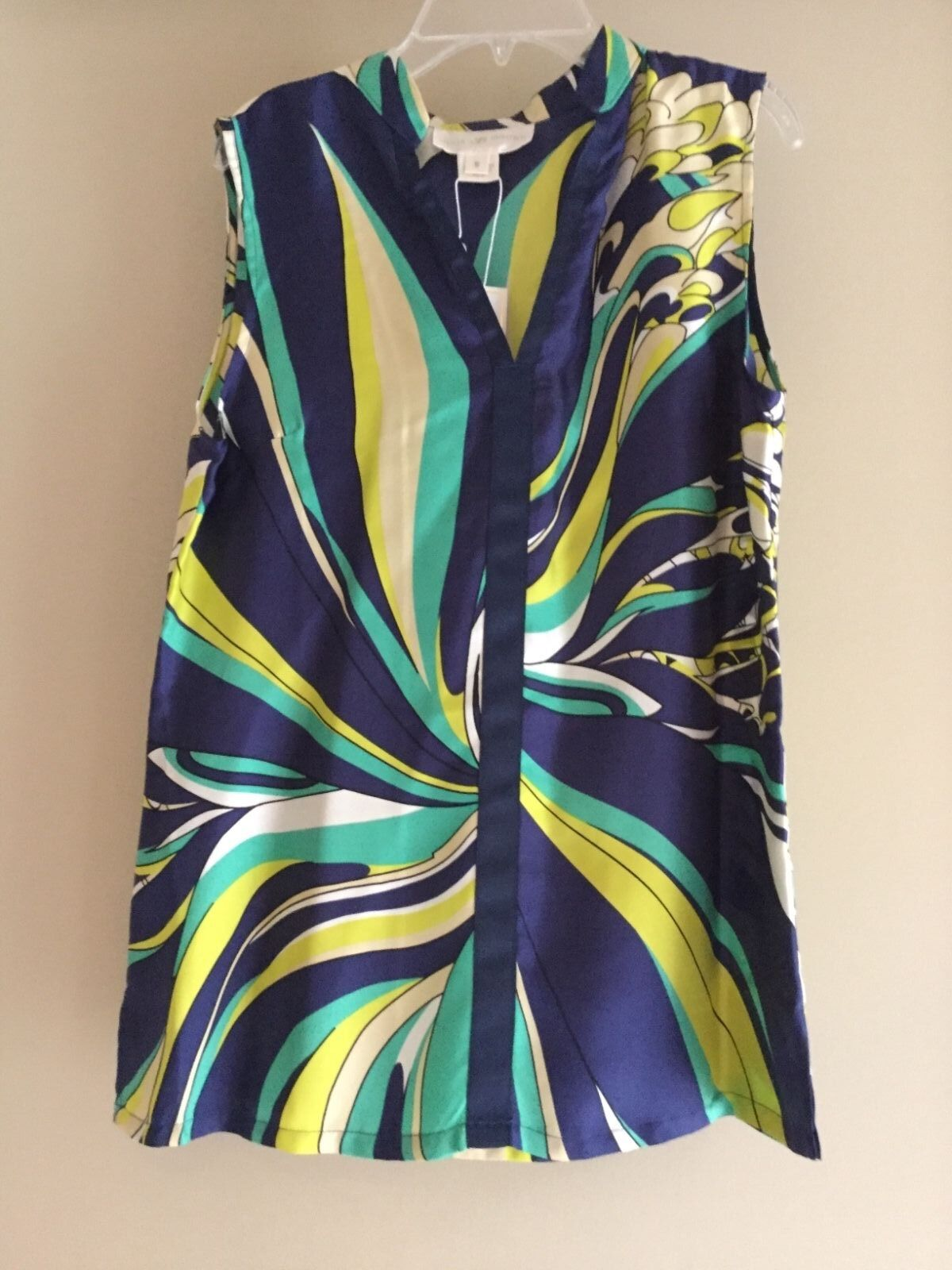 Julie braun Silk sleeveless Mock neck Navy Sea Star top blouse NEW w tags