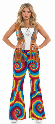 Tye Dye donna multicolore svasata Pantaloni Costume Costume 1960s-70s 8-30