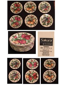 Vintage-SAKURA-by-Oneida-Stoneware-Dinnerware-SONOMA-Pattern-Fruit-6-Piece-Set