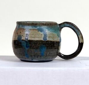 Vintage Studio Art Pottery Glazed Stoneware Mug or Tea Cup Signed Drip Glaze