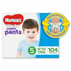 Huggies-Ultra-Dry-Nappy-Pants-Boys-Size-5-Walker-12-17kg-104-Count